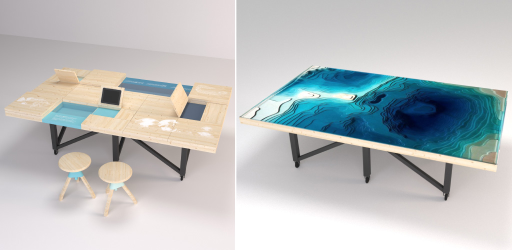 Tables d'exporation, mobiliers modulables